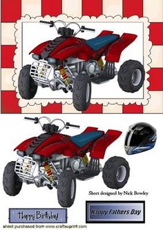 RED QUAD BIKE WITH MUD AND HELMET on Craftsuprint - Add To Basket!