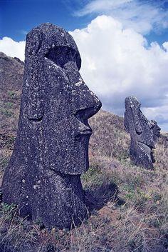 Moai heads, Rapa Nui, Easter Island, Chile.