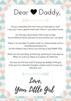 Cute dear daddy poem from a daughter to her father for Father's Day! Create your own to make a special gift for your dad.