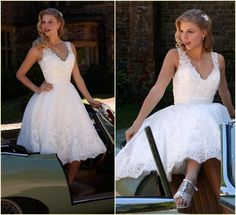 New Arrival Lace White Short Wedding Dresses V-Neck Sleeveless Backless Applique A-line Bridal Dresses Gown