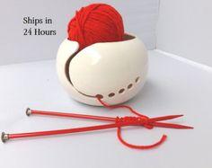 Garn Schale Keramik Garn Ton stricken von ManuelaMarinoCeramic