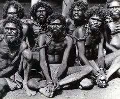 This picture is taken in the early at the Wyndham prison. Wyndam is the oldest and northernmost town in the Kimberley region of Western Australia. It was established in 1886 as a result of a … Aboriginal History, Aboriginal Culture, Aboriginal People, Aboriginal Art, Stone Age People, Australian Aboriginals, Rare Historical Photos, A Moment In Time, Indigenous Art