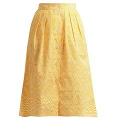 Thierry Colson Riviera striped pleated cotton skirt (1 450 PLN) ❤ liked on Polyvore featuring skirts, yellow white, striped pleated skirt, print skirt, white cotton skirt, striped skirts and yellow skirt