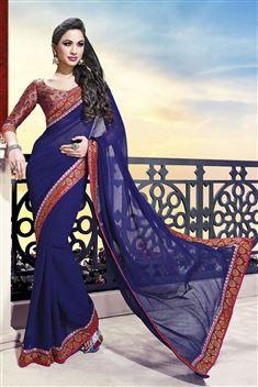 Printed Jai Ho Royal Blue Saree