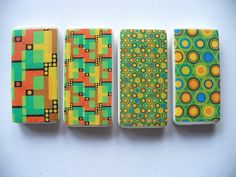 Bright Green & Orange Magnets by BuffaloCreekCrafts on Etsy, $5.50
