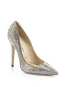 Jimmy Choo - Tartini Square Pavé Crystal & Suede Pumps #saks #bridal #shoes $3150
