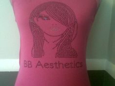 Custom Tee Shirt for BB Aesthetics. Order your #custom design from www.sparklyscrubs...! #Sparkle #Bling #Rhinestone #Fashion