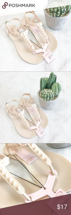 Candies Blush Injected Jelly Stud Sandals Brand new with tags! **Has Some marks on a few studs and threw out Sandal** (003-0000)   PRODUCT DETAILS: •Size: 11 or Extra Large •Colors: Blush (More of a Nude) •T-Strap  •Jelly Material with jelly studs •5 Length Options With Buckle   Tags: thongs beach summer slip on shoes jellies flip flops Candie's Shoes Sandals