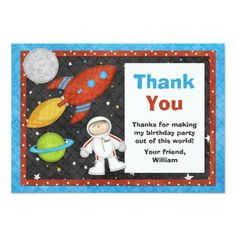 Astronaut Space Rocket Birthday Thank You Card Invites