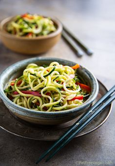 """Zucchini """"Noodles"""" with Sesame Peanut Sauce 