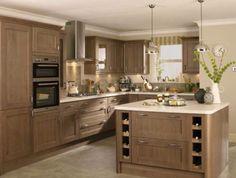 kitchen wooden cabinets white worktop - Google Search