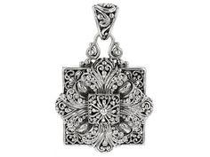 Artisan Gem Collection Of Bali(Tm) Square Sterling Silver Floral Pendant