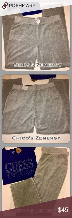 "NWT Chico's Zenergy Velour Gray Pants size 12/14 NWT Chico's Zenergy super soft velour heather gray pants with side pockets and elastic waist. Chico's size 1, (Zenergy dept runs a bit larger) but I'm a 12 and these fit me but a little big in the waist. So they would fit a size 12/14. The waist measures 17 1/2"" across laying flat unstretched. Inseam is about 30-31"".  Very nice pants!! So cozy! Excellent quality from Chico's!! Brand new with tags! Ordered & never wore! Chico's Pants Track…"