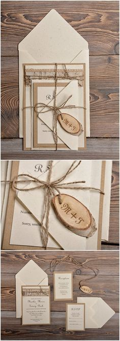country rustic lace burlap and birch bark slice wedding invitations