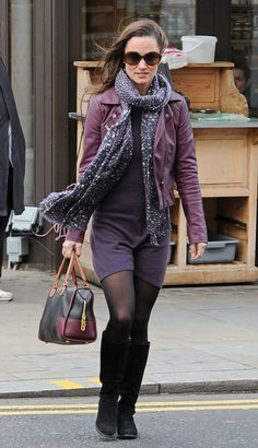 British socialite and author Pippa Middleton seen wearing an all purple outfit while out and about in London