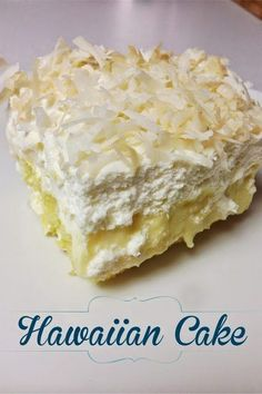 "What is better than coconut and pineapple? My sister hates pineapple, like refuses to eat anything with pineapple in it! She loved this dessert! I may not have told her that there … Continue reading ""Hawaiian Cake"" Hawaiian Desserts, 13 Desserts, Pineapple Desserts, Delicious Desserts, Hawaiian Wedding Cakes, Hawaiian Recipes, Pinapple Dessert Recipes, Pineapple Poke Cake, Coconut Pineapple Cake"