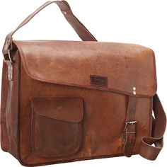 Sharo Leather Computer Messenger Bag - Dark Brown - Messenger Bags ($147) ❤ liked on Polyvore featuring bags, messenger bags, brown, leather courier bag, brown messenger bag, brown bag and courier bag