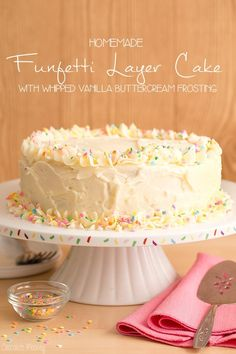 Homemade Funfetti Layer Cake with Whipped Vanilla Buttercream Frosting