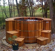 Wooden Hot Tub around 1974.  Yup we had one surrounded by ferns