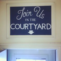 Join Us in the Courtyard Chalkboard Sign by Dayna Vago Designs Chalkboard Signs, Chalk Board, Join, Calm, Artwork, Design, Slate, Work Of Art, Design Comics