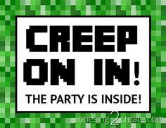 Minecraft Birthday Party free printable door sign