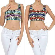 3748ca84844f9d Aztec Tribal Crop Top S M L Indian Summer Printed Tank Sleeveless New  Fashion