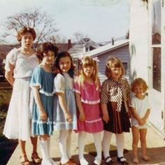 #nationalsiblingday Every Easter we went to my grandmothers 🏡. First we went to Mass and then came home for an epic Easter 🐣 egg hunt. My dad was the youngest of nine and we had about 30 cousins. These are some of my female cousins, Teresa, Jennifer, Beth and Nancy (in her Carters) Nicole and I are wearing the same nylon dress in different colors. We also had matching white hats 🎩 with lace trim that didn't make it into the photo. #cute #nofilter #goodtimes #easter #family…