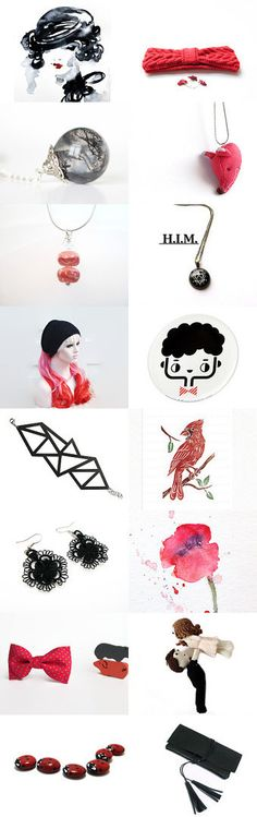 Autumn red and black!  by Nancy Ottati from RevesCreazioni on Etsy--Pinned with TreasuryPin.com