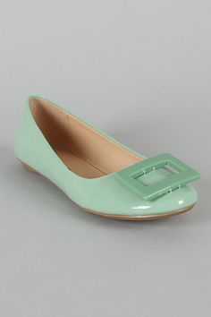 City Classified Hera-S Square Ornament Round Toe Ballet Flat- Mint