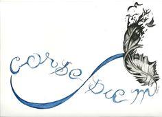 Idea tatuaje de carpe diem y pluma.