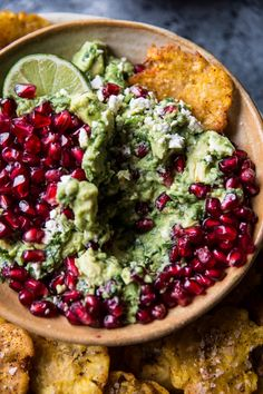 Enjoying this long weekend curled up on the couch, watching movies and enjoying this delish pomegranate guacamole and fried plantain chips. Yum!