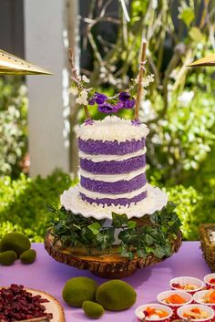 Gorgeous cake at a Fairy Garden Birthday Party! See more party planning ideas at CatchMyParty.com!