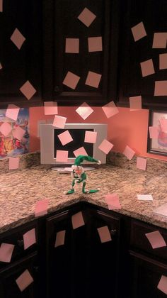 "previous pinner said: Tebowing Phineas our Elf, after making a ""post it"" mess of my kitchen."