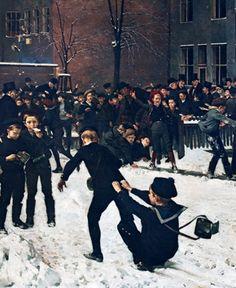 Erik Henningsen (1855-1930): Children playing in Descendents Company School courtyard, 1887