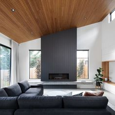 Home Remodel Modern This room is blessed with high ceilings so is perfect for timber providing a wonderful contrast to the grey and granite. Timber Ceiling, Wooden Ceilings, Wooden Ceiling Design, Modern Ceiling, High Ceiling Living Room Modern, Concrete Ceiling, Grey Ceiling, Wood Interior Design, Ceiling Decor