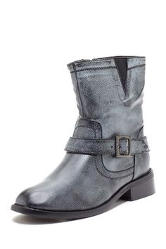 """Bucco Short Buckle Strap Boot -- Side zip closure w/ elasticized side cutout and buckle strap detail. Round toe. Approx. 6.5"""" shaft ht, 12"""" shaft opening, 1.25"""" heel. Gray color. 