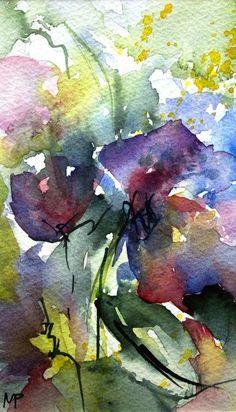 Petit instant N° 231 - Painting, 15x8 cm ©️️2014 par Véronique Piaser-Moyen - Peinture, Aquarelle