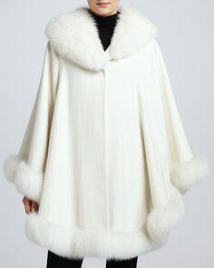 Cashmere Fox Fur-Trim Shawl Cape  by Sofia Cashmere at Neiman Marcus.