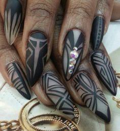 Black matte tribal nails nailart design @rainbownailssalon1