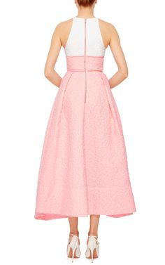 Sissy Cotton Floral Contrast Midi Dress by ALEX PERRY Now Available on Moda Operandi