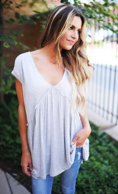 V Neck Short Sleeve Baby Doll Top- Heather Grey - Dottie Couture Boutique