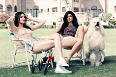 On Kendall: Kendall & Kylie crochet triangle bikini top • $36.95, Kendall & Kylie zip up cutoff shorts • $49.95 ••• On Kylie: Kendall & Kylie racerback tank top • $32.95, Kendall & Kylie lace fray high rise shorts • $49.95