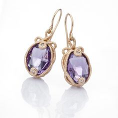 Brigitte Adolph - Gold Amethyst & Diamond Earrings - ORRO Contemporary Jewellery Glasgow - www.orro.co.uk