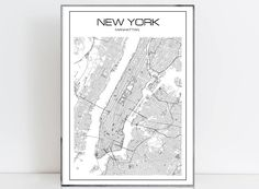 New York Map print Manhattan print Extra large Wall art New