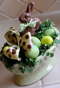 Decorations, Graceful Easter Table Centerpiece Idea With Chocolate ...