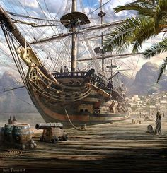 Port Royal, Jamaica by Sarel Theron. Home of the Buccaneers and Pirate, Henry M… Port Royal, Jamaica by Sarel Theron. Pirate Art, Pirate Life, Pirate Ships, Bateau Pirate, Old Sailing Ships, Sailing Boat, Royal Art, Ship Of The Line, Ship Paintings
