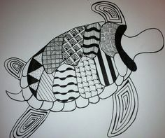 a zentangled turtle