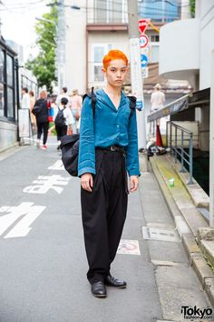 Orange-Haired Harajuku Guy in Silk Shirt, Darted Pants & Nil Admirari Shoes