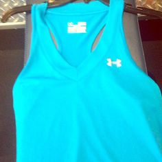 Under Armour V-neck Tech Tank Beautiful turquoise blue v neck under armour tank. Part of the heat gear collection. Excellent condition! Under Armour Tops Tank Tops
