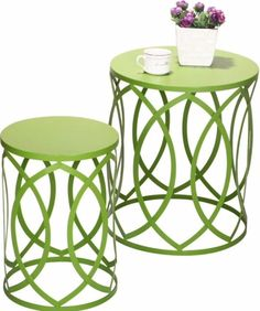 Pack Of 2 Modern Green Round Iron Nesting Tables Stools Living Room Furniture #IronNestingTable